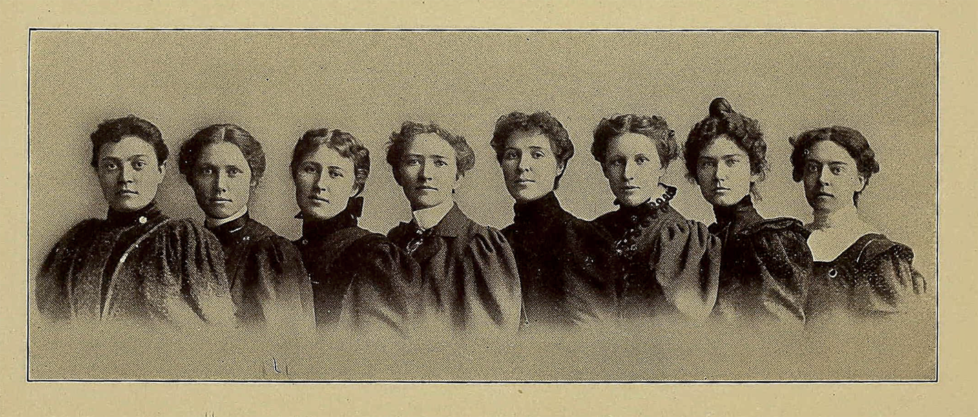 Image of Minnie Evangeline Jordan (4th from left) and classmates from University of California School of Dentistry Yearbook 1903