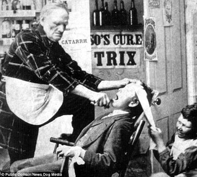 Late 1800s, early 1900s tooth extraction