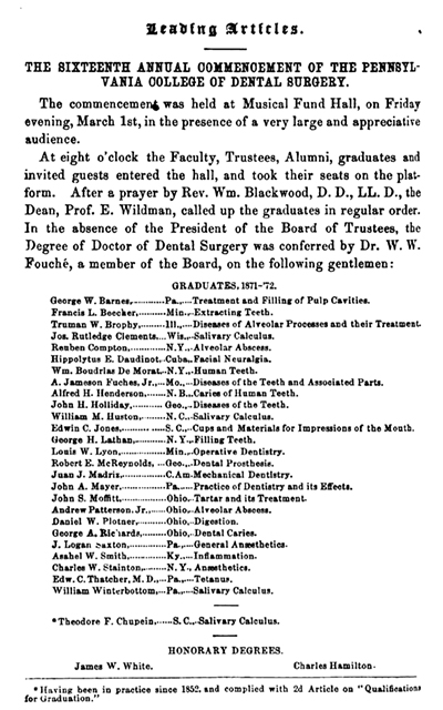 Pennsylvania College of Dental Surgery Graduation Announcement in V9 of Dental Times, 1872