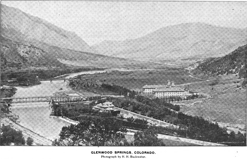 Birds eye view of Glenwood Springs, Colorada circa 1896