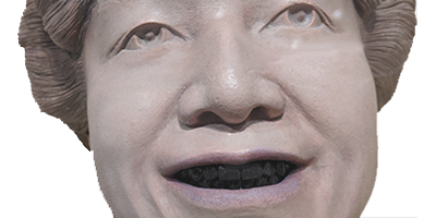 Image of life mask of Japanese woman with black teeth