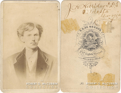 CDV of John Henry Holliday DDS Front and Back Signed