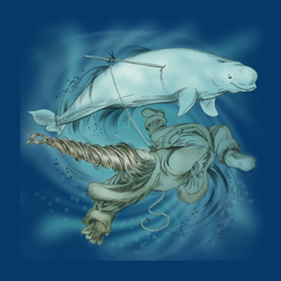 Illustration of the Inuit Legend of the narwhal