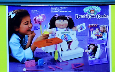 Image of Cabbage Patch ad banner located in the atrium of the National Museum of Dentistry