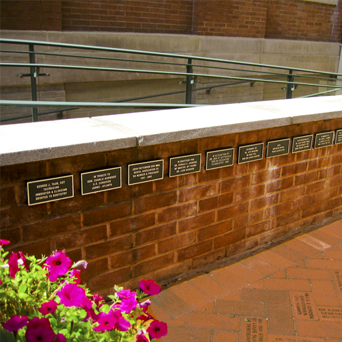 Image of plaques in courtyard