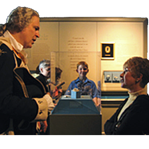 Image of George Washington reenactor being asked a question