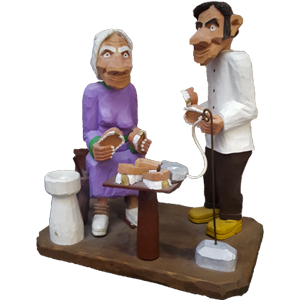 Image of Dentist and Elderly Lady picking out dentures figurine