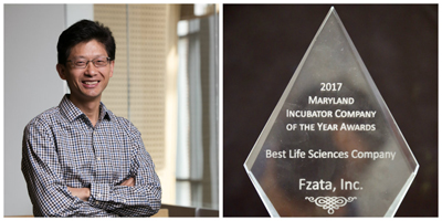 "Feng's company, Fzata, was named ""Best Life Sciences Company"" at the Maryland Incubator Company of the Year awards ceremony."