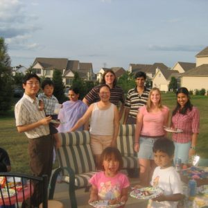 Lab members at a summer barbecue