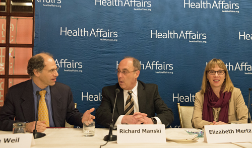 Professor Richard J. Manski of the UM School of Dentistry, center, joined panelists Alan Weil, editor of Health Affairs, and Associate Professor Elizabeth A. Mertz of the University of California, San Francisco at a briefing on oral health in Washington, D.C.      --Photo courtesy Health Affairs.